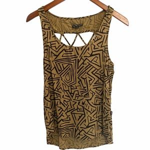 Vans scoop neck back cut out tank, olive blk small